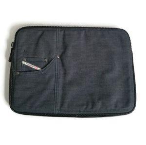 Diesel laptop case black denim leather trim padded